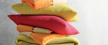 Jete de lit electre citron - nid d'abeille - blanc des vosges