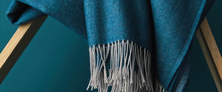 Décoration plaid Katmandou Bleu paon